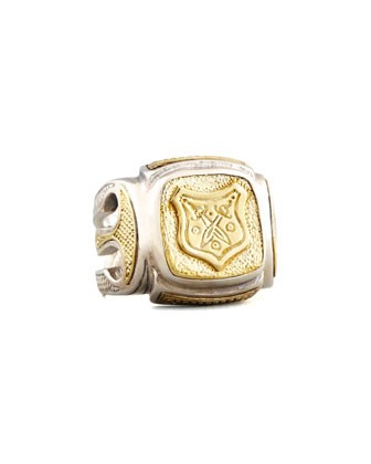 Myrmidones Men's Etched Shield Ring - Konstantino