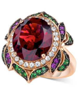 Le Vian Garnet (7-5/8 ct. t.w.) and Multi-Stone Round Flower Ring in 14k Rose Gold