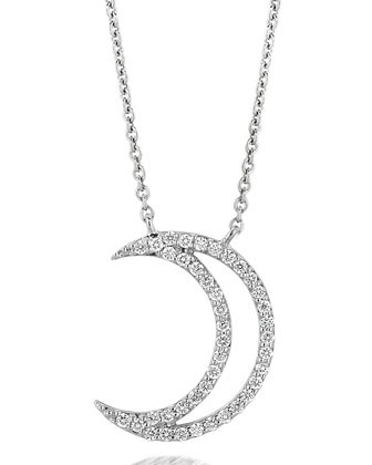 18k White Gold Large Moon Diamond Pendant Necklace - A Link