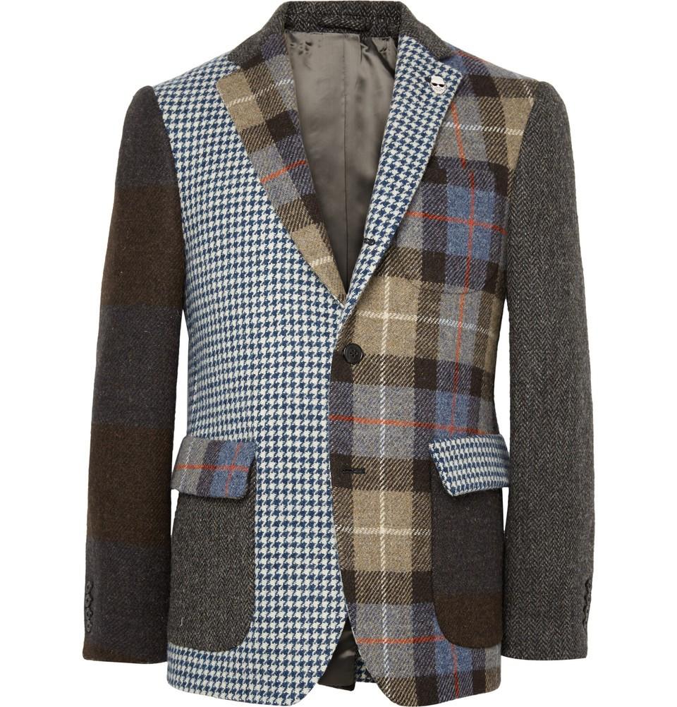 Slim-Fit Patchwork Wool-Tweed Blazer Brown