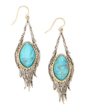 Elements Cholulian Turquoise & Silvery Feather Drop Earrings - Alexis Bittar