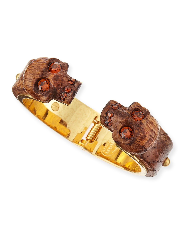 Wooden Skull Bracelet, Golden - Alexander McQueen - Gold