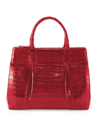 Plisse Large Crocodile Tote Bag, Red - Nancy Gonzalez