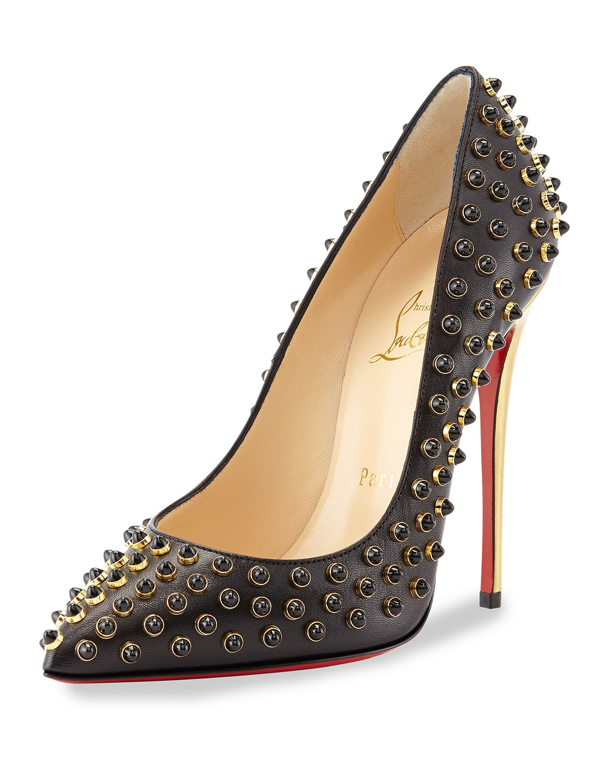 Follies Cabo Studded Red Sole Pump, Black - Christian Louboutin - Black (10 1/2B)