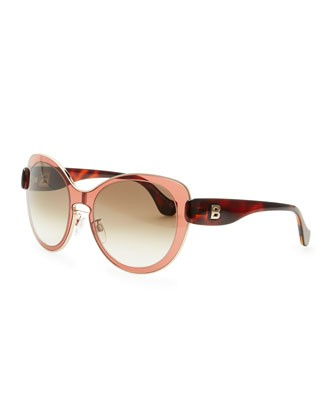 Rounded Sunglasses, Amber Granate Rose/Rose Gold - Balenciaga
