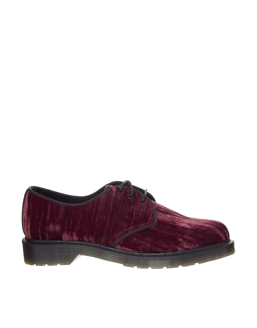 Dr Martens Hugh Cherry Red Crushed Velvet Flat Shoe