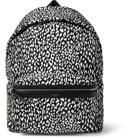 Leather-Trimmed Baby Cat-Patterned Backpack
