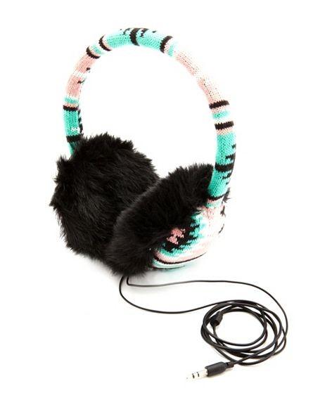 AZTEC KNIT EARMUFF HEADPHONES by Charlotte Russe