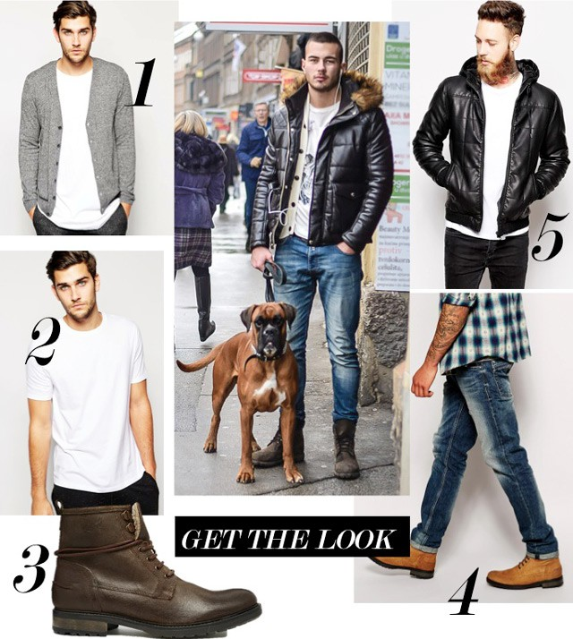 men fashion style in winter, cool mens street fashion, cool mens street fashion, men fashion style in winter, winter men outfit, mens cool casual winter street style fashion: padded jacket, work boots, lace up boots, handsome guys and dogs street fashion