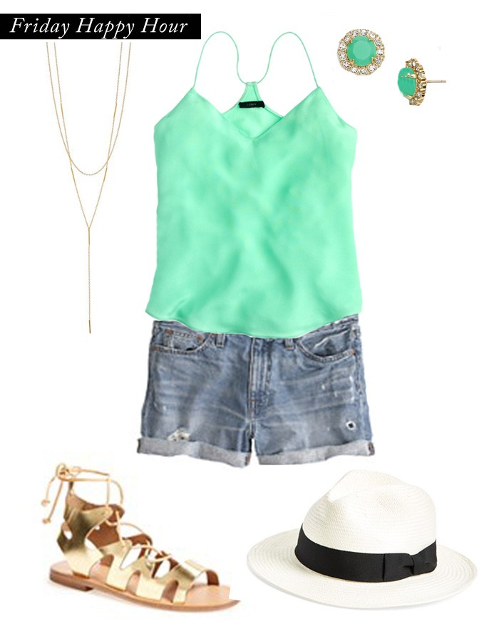womens casual wear, denim shorts, distressed denim shorts, summer outfits, mint, jewelry