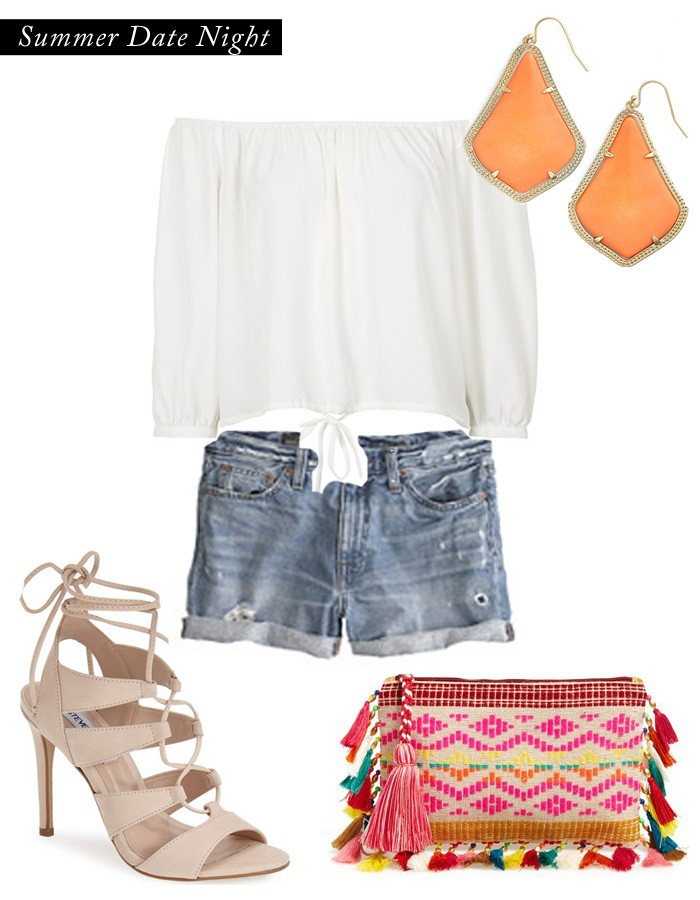 summer outfit, kendra scott jewelry, denim shorts,