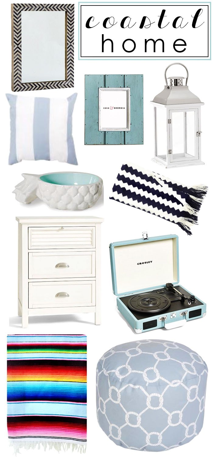 @caitlinclairexo, Instagram, Home Decor, Beach House, Coastal, Nautical, Interior Design, #darlingathome, Nordstrom, Anniversary Sale, Lulu & Georgia, Pottery Barn, Pouf, Mexican Blanket, Chevron Throw, Blue, Radio, White, Shutter, Bedside, Nightstand, Table, Pineapple, Tray, Stripe, Pillow, Lantern, Frame, Teal, Turquoise, Grey Herringbone, Mirror, West Elm, Darling Desires