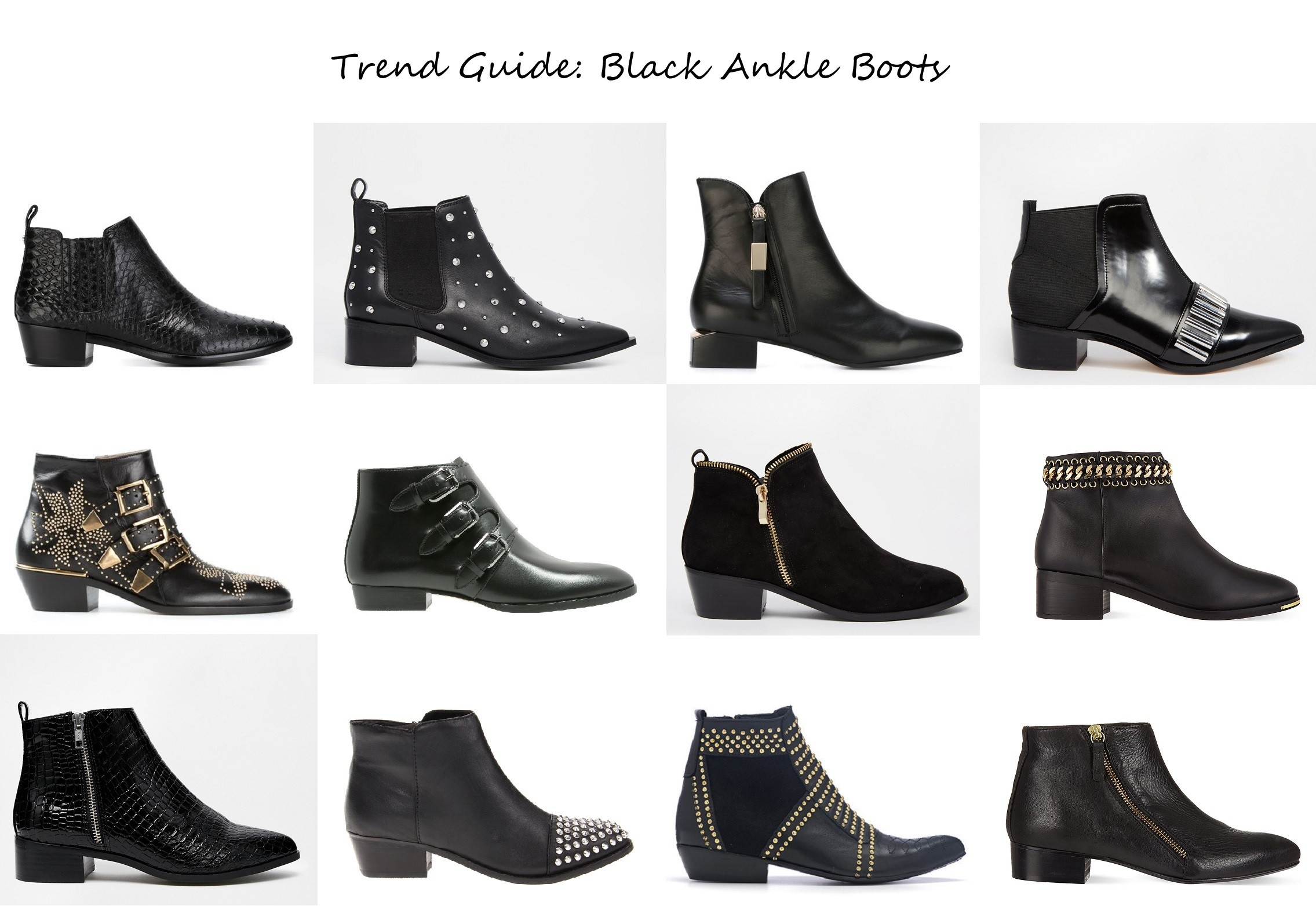 fall winter 2015 boots fashion trend black leather studded croc ankle boots