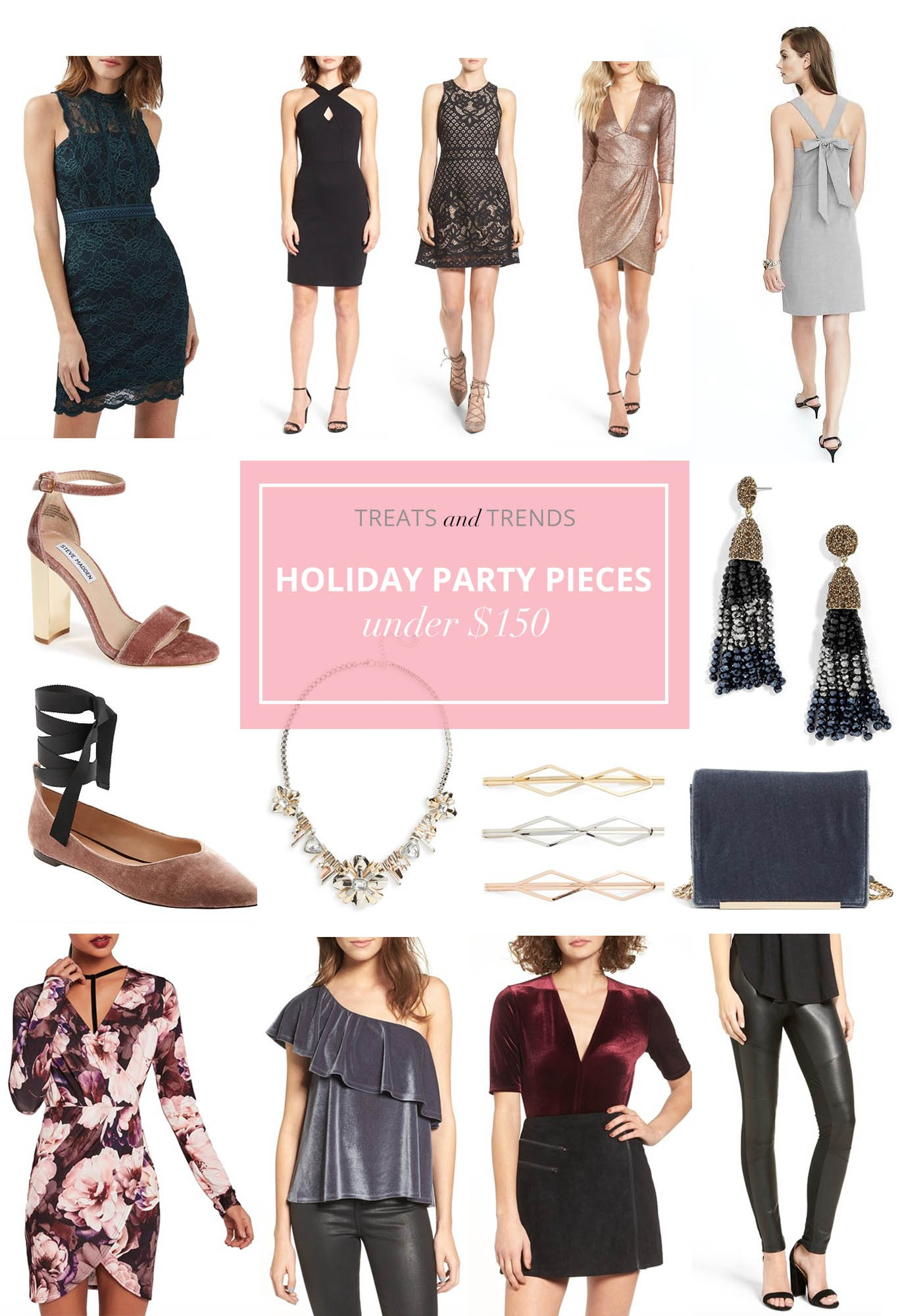 holiday party dresses under $150, Christmas party outfit, holiday shopping, Treats and Trends, fashion blog
