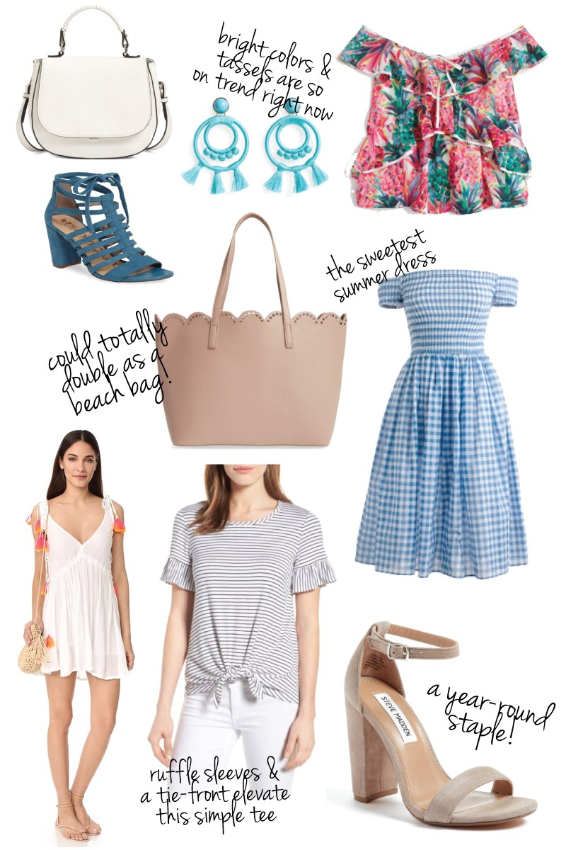 White Saddle bag Blue Sam Edelman Heels BP Scallop bag tropical Print cold shoulder top gingham off the shoulder dress steve madden nude heels