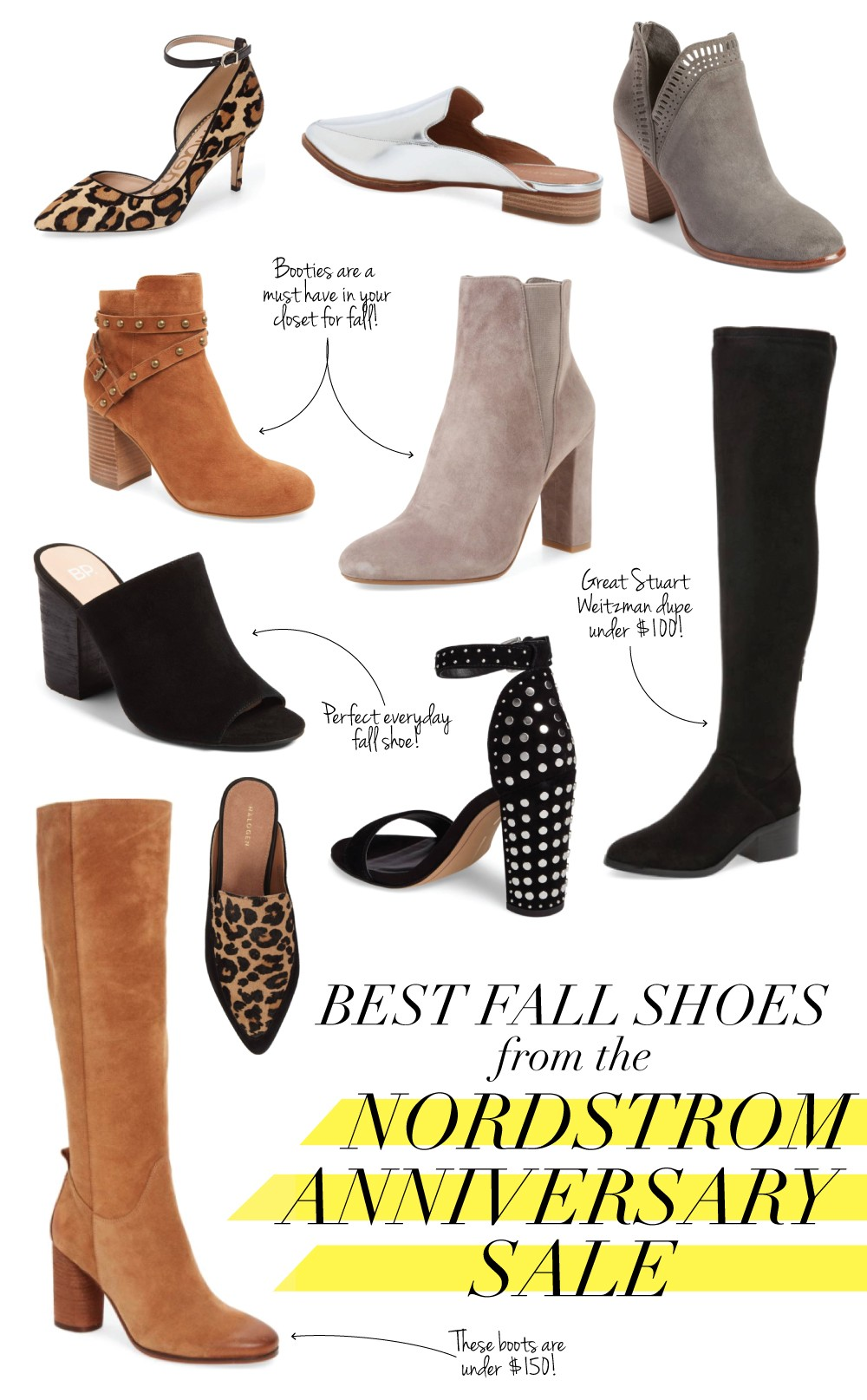 favroite fall shoes from nordstrom anniversary sale, stuart weitzman over the knee boots dupe, steve madden boots, vince camuto booties, sam edelman leopard print heels