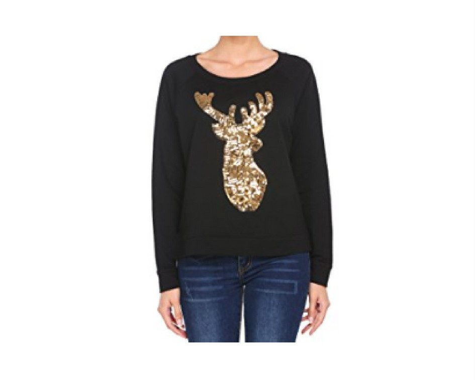 Cute Christmas Sweaters for Women 2017 - gold deer sequinned sweater