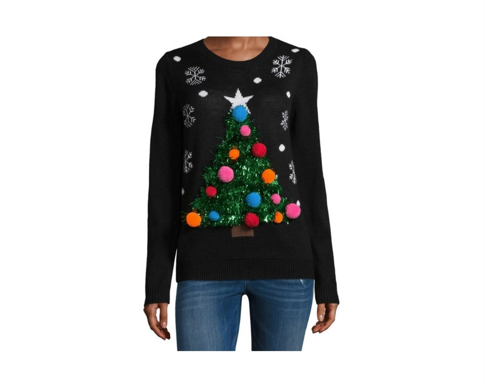Cute Christmas Sweaters for Women 2017 - pom pom tree sweater