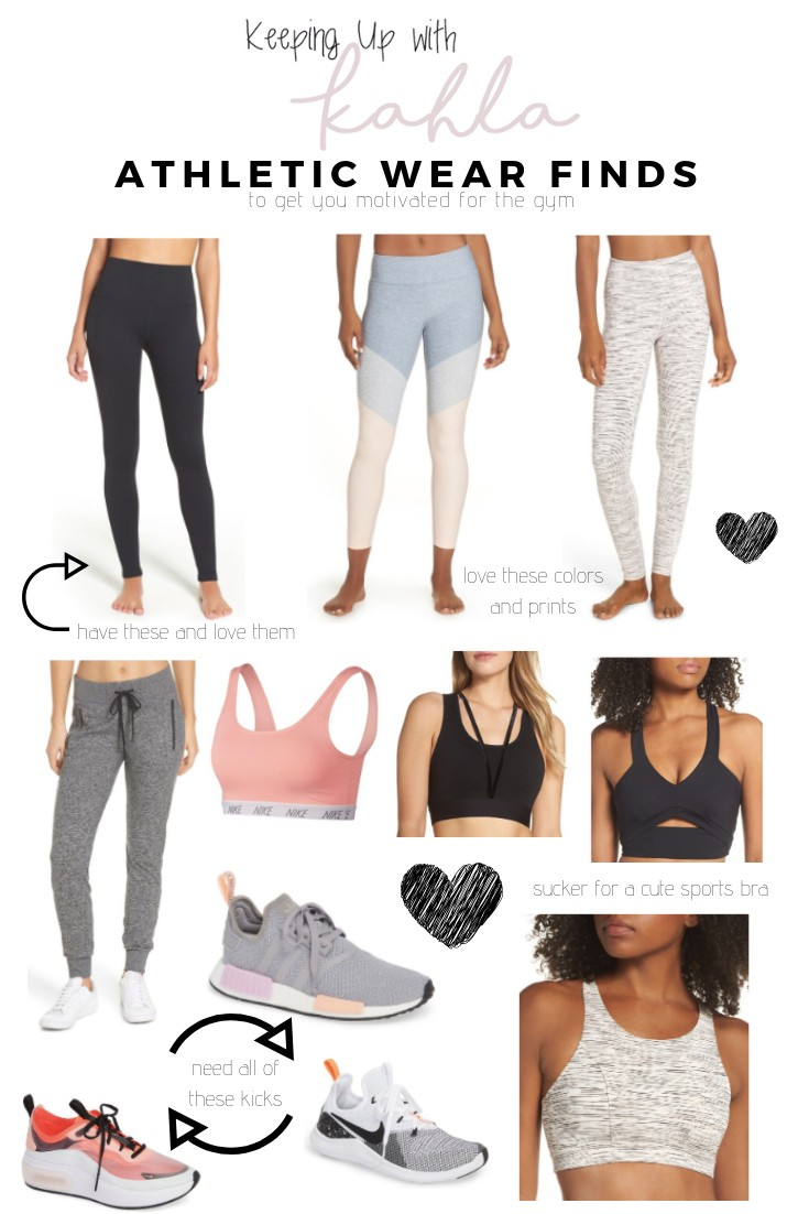 Roundup of athletic wear including sports bras, workout tank tops, leggings, joggers, and athletic shoes