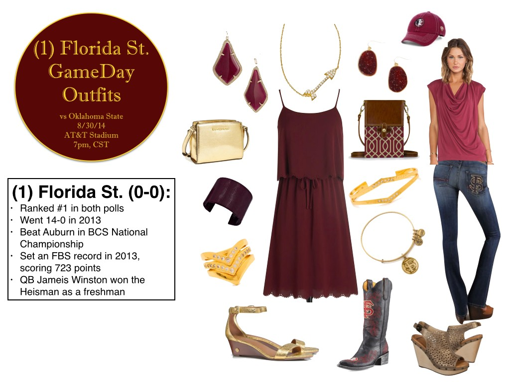 florida state gameday outfits, garnet and gold, florida state