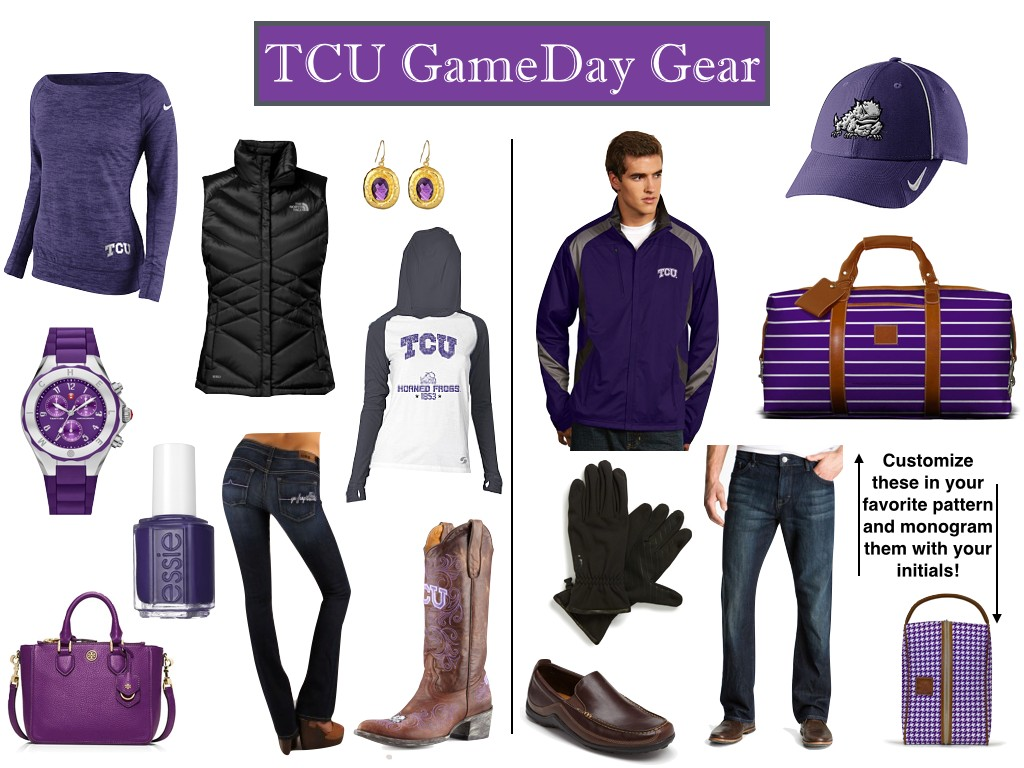 TCU GameDay Outfits, TCU style, TCU gameday gear, TCU T-shirts, TCU hats,