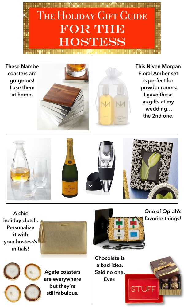 hostess gifts, lafco candles, oprah's favorite things, nambe, agate coasters, godiva chocolate