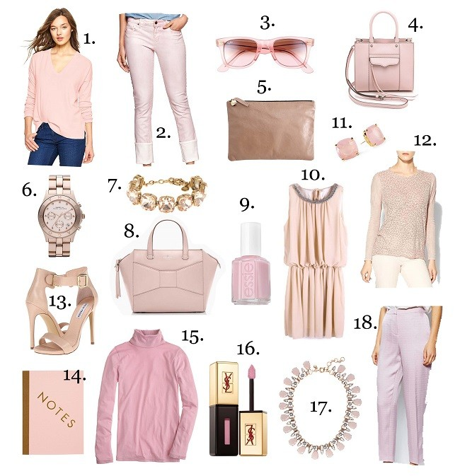soft pink, powder pink, color crush, lulus love list, kate spade, ray ban, steve madden, essie, jcrew, gap,