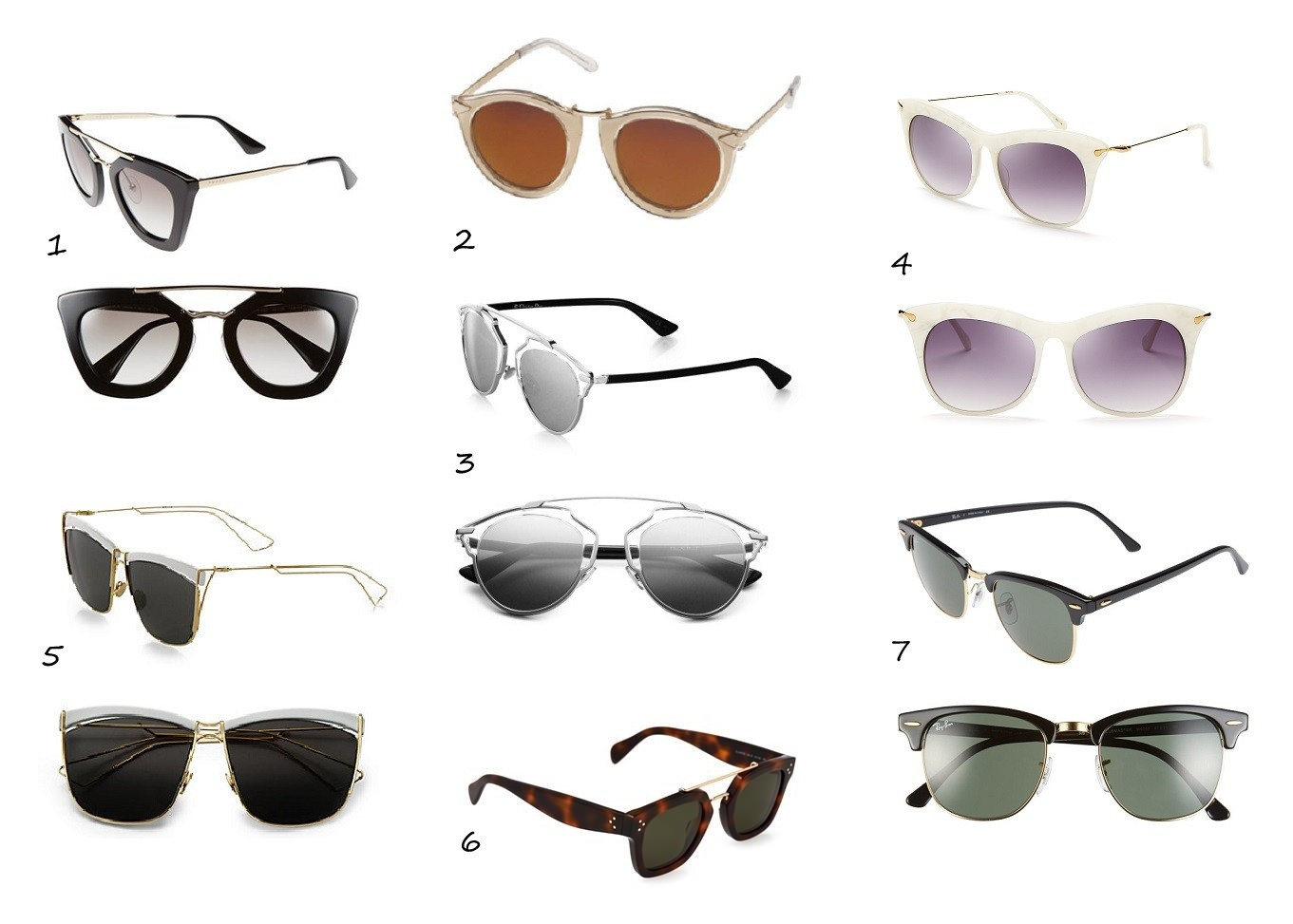 summer 2015 retro sunglasses trend celine dior prada ray-ban karen walker