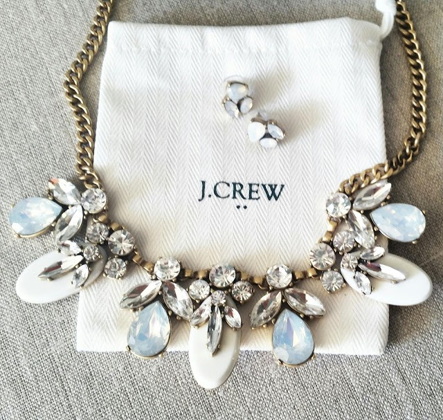 J.Crew Factory Crystal and Stone Necklace on sale
