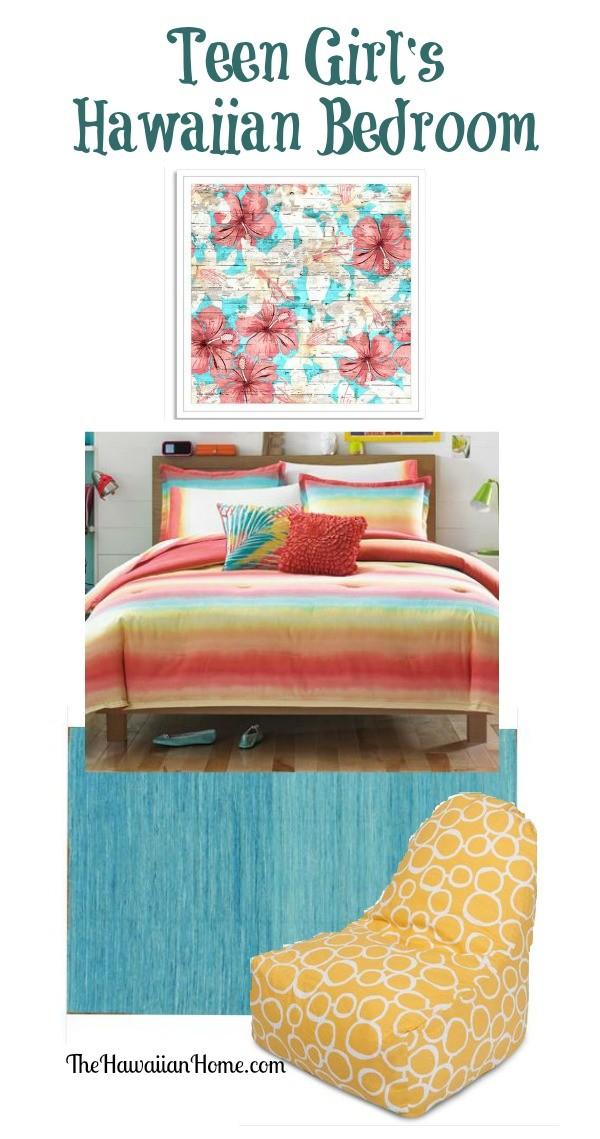 Energetic Teen Girl's Hawaiian Bedroom