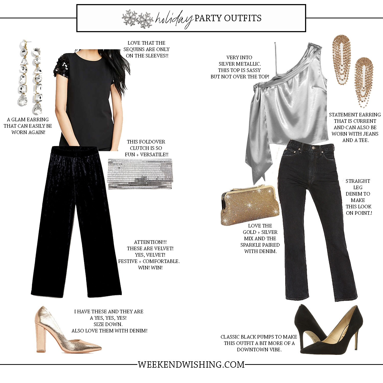 Holiday Party Outfit Ideas Weekend Wishing