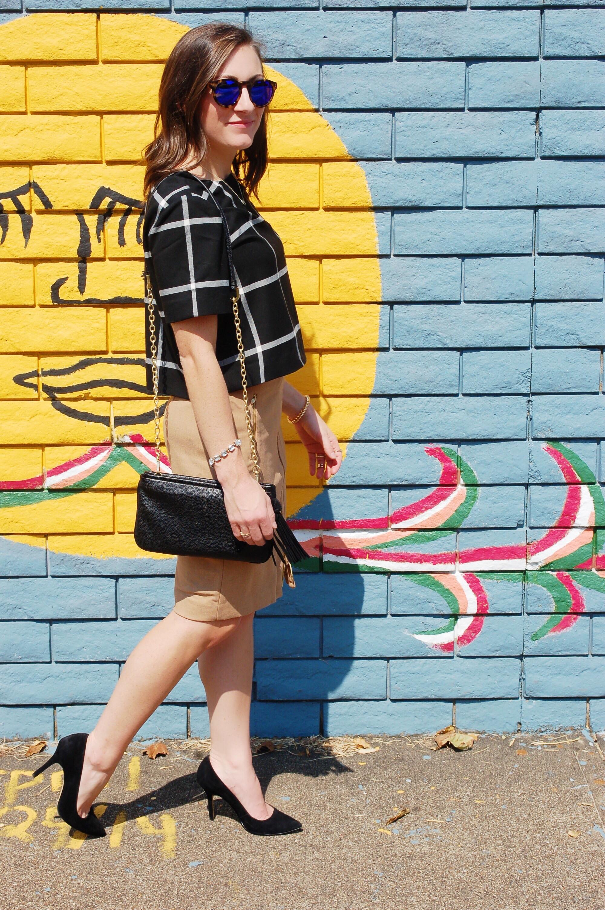 Camel Pencil Skirt & Window Pane Crop - The Fashion Brief