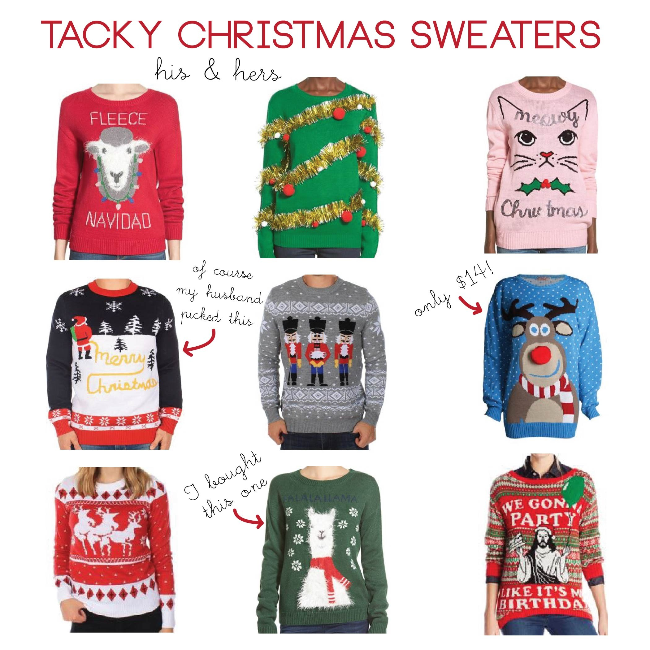 russs work christmas party has a tacky sweater theme which is so much fun last year i did not prepare enough in advance to order anything so last minute