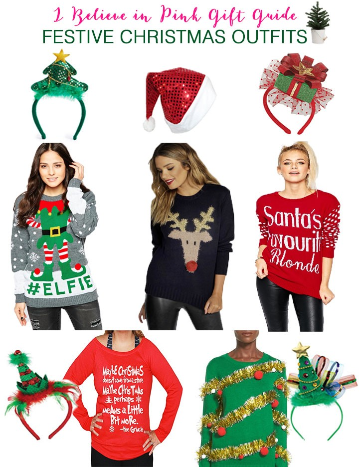 """sequin Christmas tree headband // sequin Santa hat // wrapped gift headband  // #ELFIE sweater // reindeer pom pom sweater // """"Santa's favorite blonde""""  ... - Gift Guide: Festive Christmas Outfits - I Believe In Pink"""
