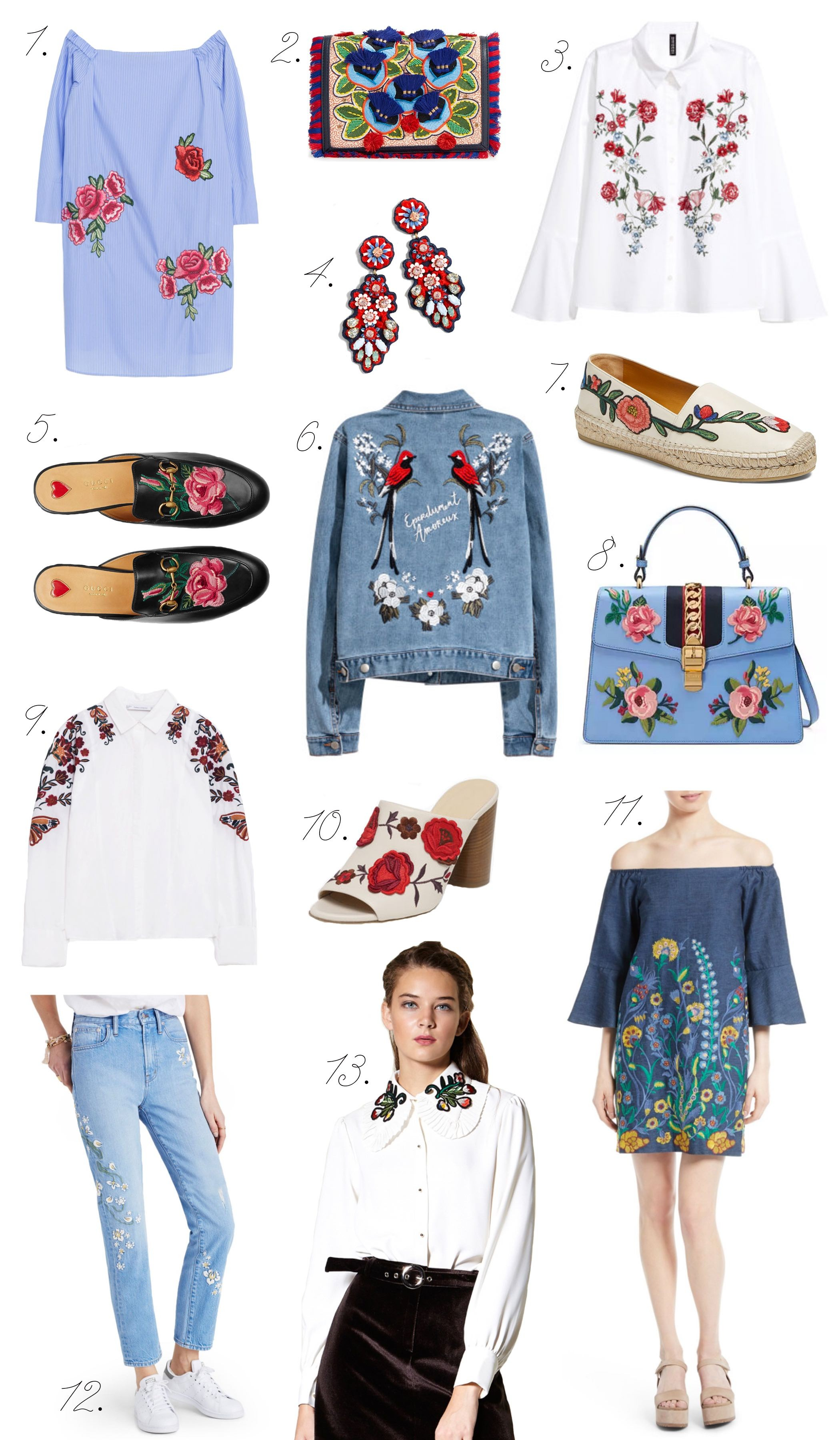 ebbdb6d2 J Crew Embroidered Crustal Earrings ($58.50) | 5. Gucci Princetown Loafers  ($750) | 6. H&M Embroidered Denim Jacket ($59.99) | 7.