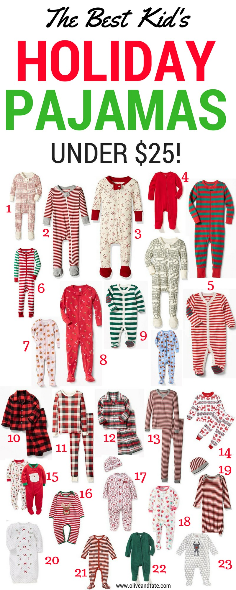 The Best Kid\'s Holiday Pajamas Under $25! | Olive and Tate