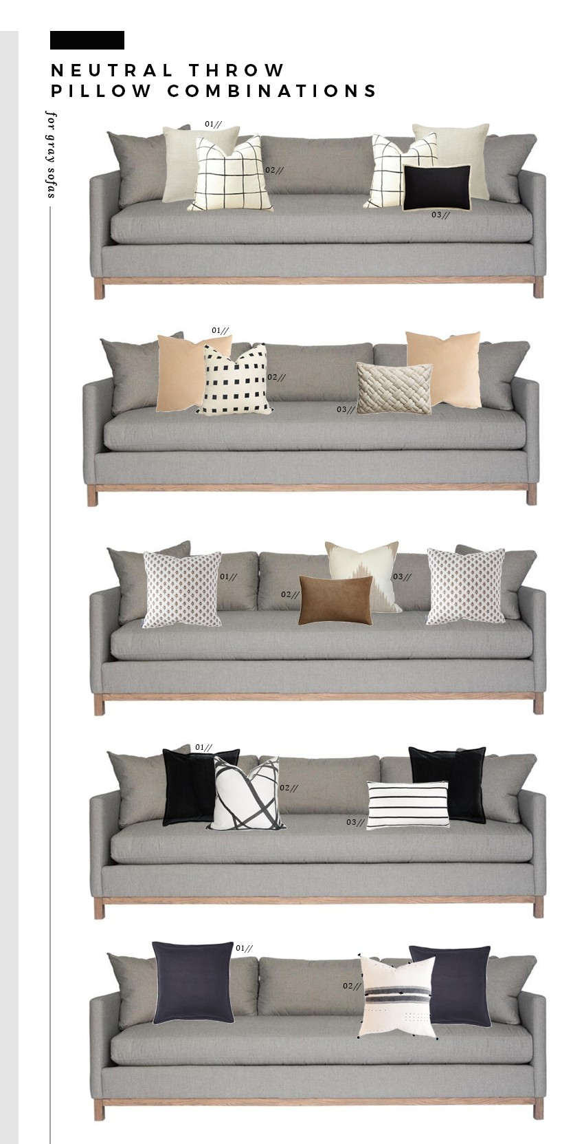 Neutral Throw Pillow Combinations For White And Gray Sofas Room