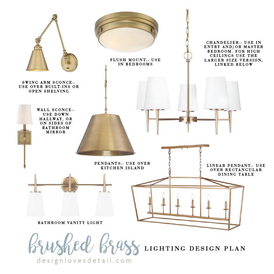 Affordable Lighting Design Plan: Brushed Brass
