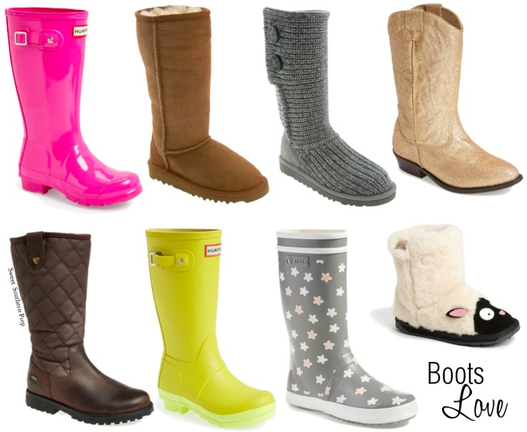Metallic Cowboy Boots // Ugg Classic Tall Boots // Pink Hunter Rain Boots // Yellow Hunter Rain Boots with Contrast Sole // Grey Crochet Boots // EMU Little ...