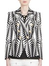 26b36195 ... Jagged Leaf Print Black and White Double Breasted Purchase from any of  the below retailers: <. Balmain $2,241.00. Neiman Marcus $2,545.00. saks  fifth ...