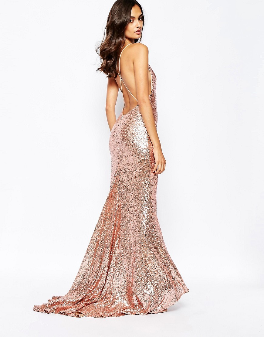 Wedding Rose Gold Dresses rose gold sequin bridesmaid dress asos