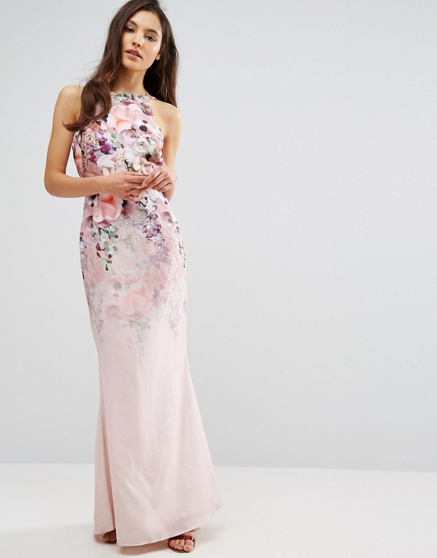 Long floral dress for wedding guest for Long guest wedding dresses