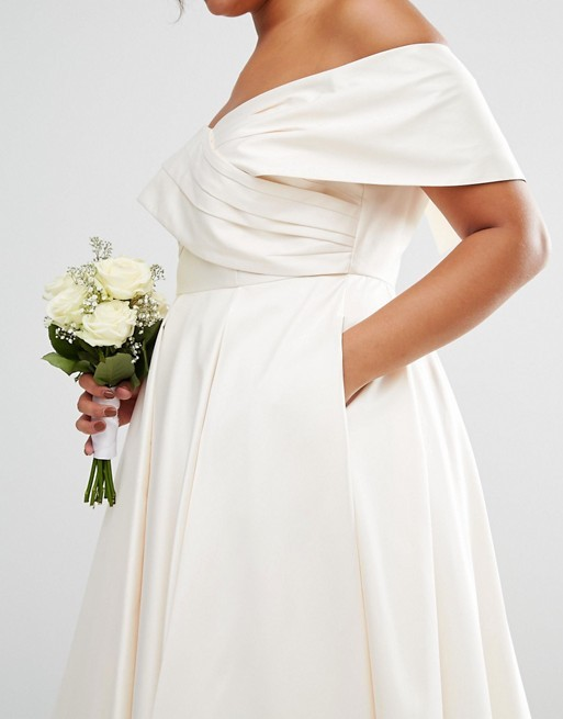 Plus Size Wedding Dress Bonded Sateen Cross Fold Debutante Dip