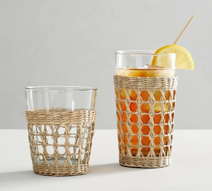 wicker and rattan accents glass cozies