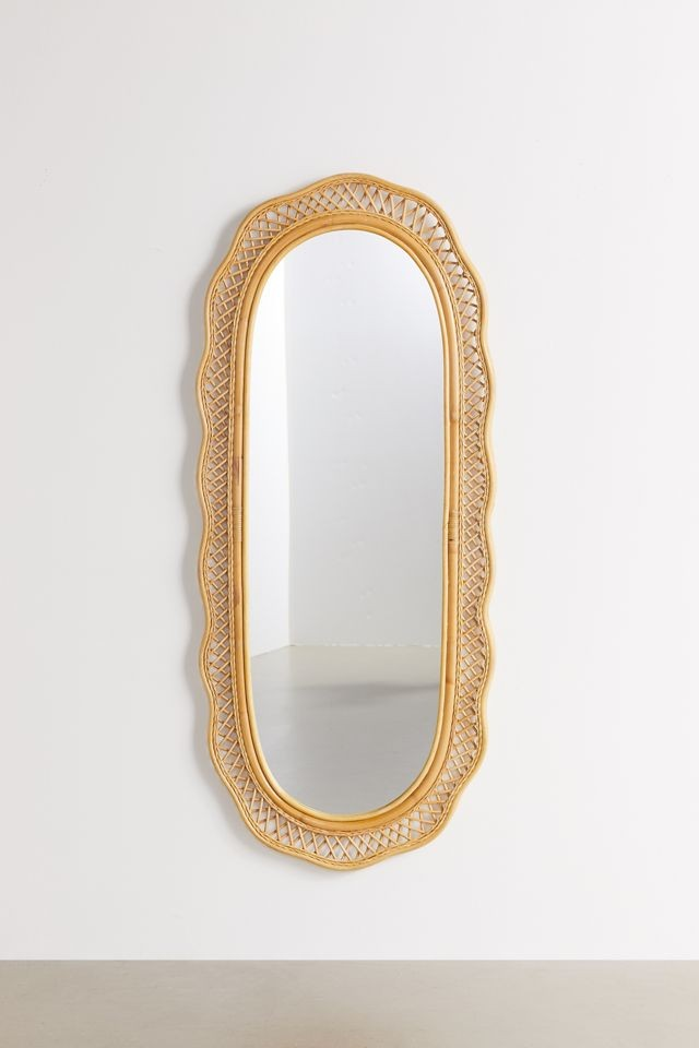 wicker and rattan accents mirror