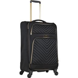 """Kenneth Cole Reaction Chelsea 24"""""""" Quilted Lightweight Expandable Checked Spinner Luggage Black - Kenneth Cole Reaction Softside Checked 