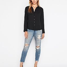 Express Womens Slim Fit Full Button-Up Portofino Shirt Black Women's Xxs Black Xxs | Express