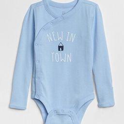 Gap Baby Graphic Long Sleeve Bodysuit Cerulean  Blue Size 12-18 M | Gap US