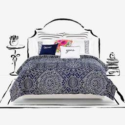 kate spade new york Eyelet Medallion Full/Queen Comforter Set in Navy | Bed Bath & Beyond