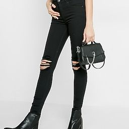 Black High Waisted Distressed Knee Stretch Jean Leggings | Express
